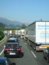 traffic jam on motorway, (c) BBT-SE